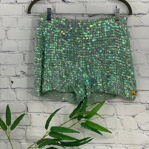 Pants - Mint Green Stretchy Shorts w/ Iridescent Sequins